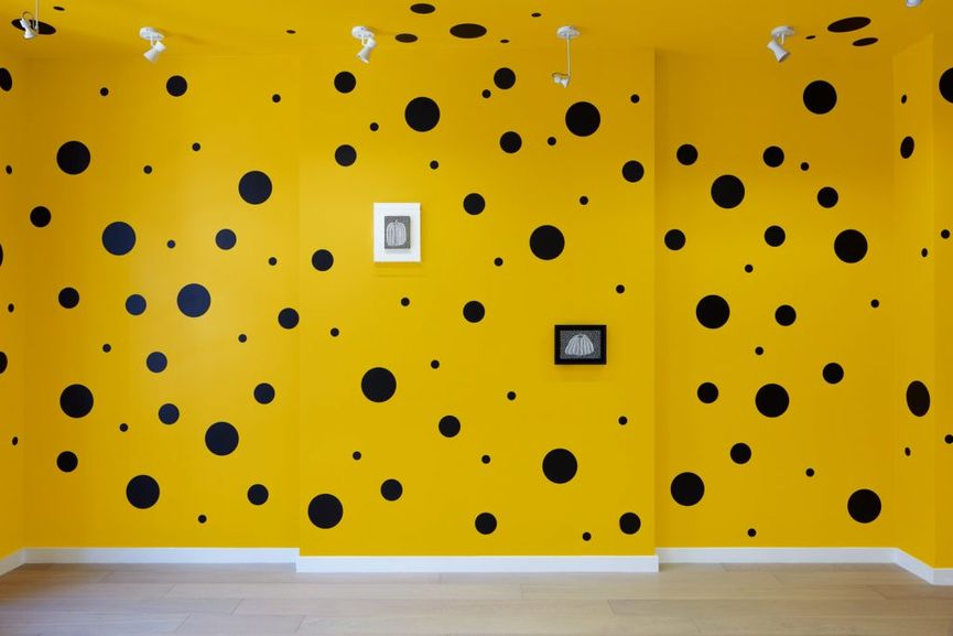 Small Pumpkin Paintings by Yayoi Kusama; she is known for her polka dot art