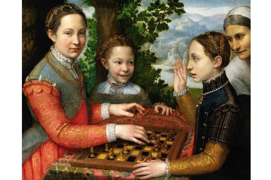 Sofonisba Anguissola - The Chess Game (Portrait of the artist's sisters playing chess), 1555; anguissola painting from the 16th century