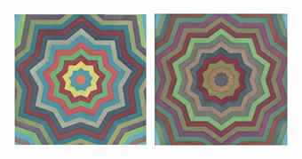 Sol LeWitt-Two plates, from Stars with Color Bands-1993