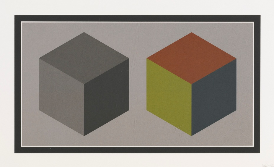 Sol LeWitt-Double Cubes In Grays And Colors Superimposed (Krakow 1989.02)-1989