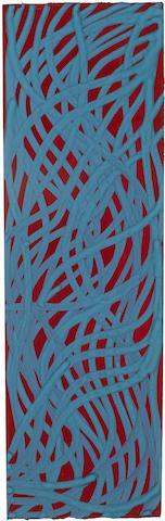 Sol LeWitt-Untitled (Irregular Wavy Teal Blue Lines on Burgundy Background)-2001