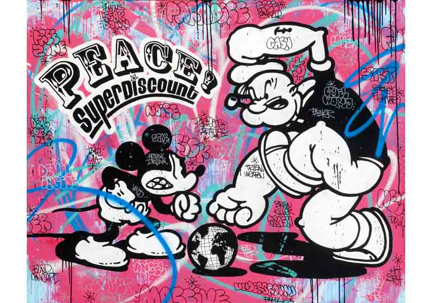 Speedy GRAPHITO - Peace! Super Discount, 2010, mixed media on canvas