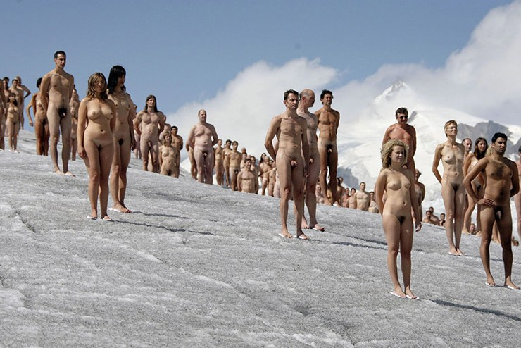 The naked art happening on the largest glacier in the Alps