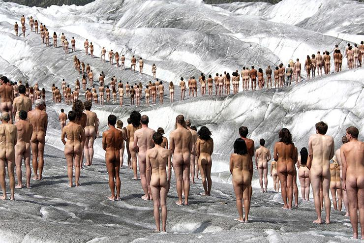 Spencer Tunick uses his naked art performances and installations to draw attention to some of the problems we are facing in the contemporary world
