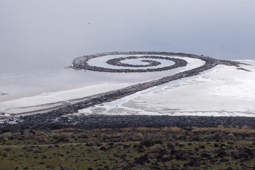Spiral Jetty from atop Rozel Point, in mid-April 2005