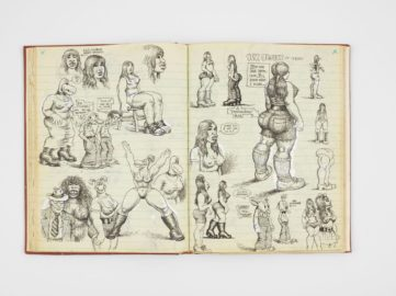Spread from R. Crumb, Sketchbook, 1971, best known for the comix magazine zap