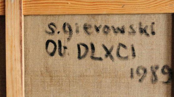 Stefan Gierowski - DLXCI, 1989 (back, detail)