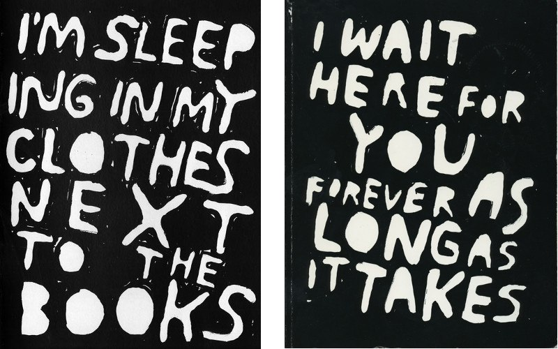 Stefan Marx - I'm Sleeping in my Clothes next to the Books - 2013 (Left) / I Wait Here For You Forever as Long as it Takes - Nieves Books - 2007 (Right)