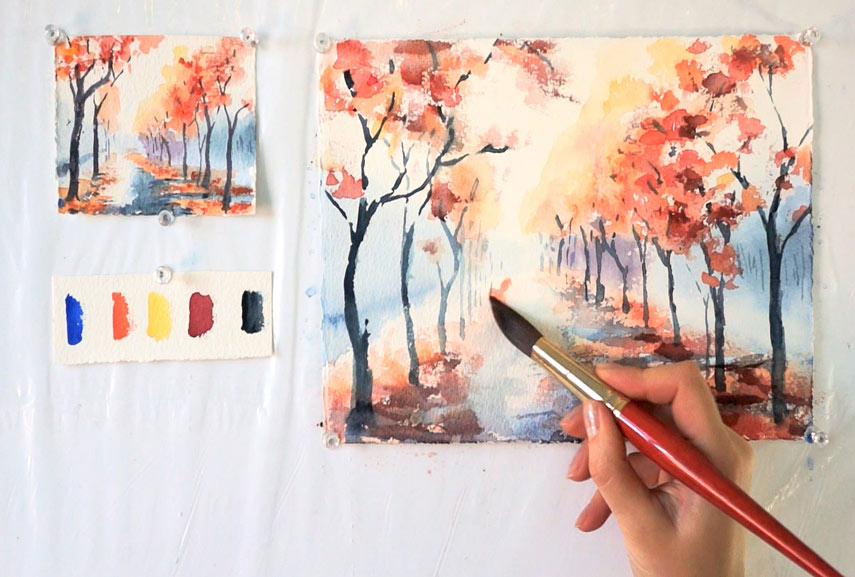 Watercolor techniques for a perfect painting result for Watercolor tutorials step by step