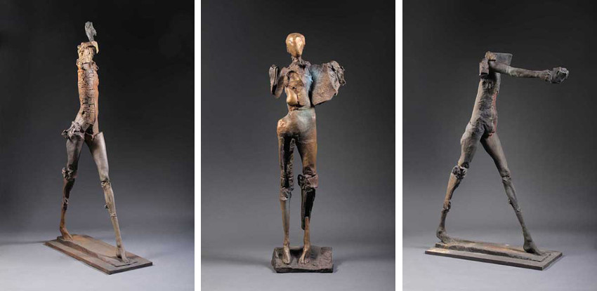 Stephen De Staebler - Deep Woman Striding, 2010 - Figure with Truncated Wing, 2010 - Standing Woman Leading, 2010