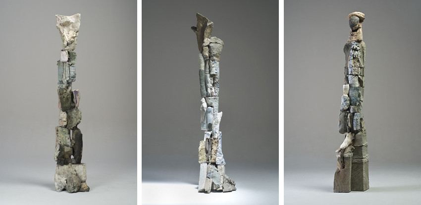 Stephen De Staebler - Segmented Figure Column III, 2008 - Figure with Sharp Wing, 2010 - Figure with Sandstone Head, 2010