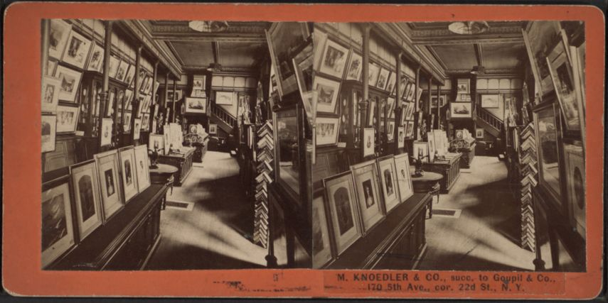 Stereoscopic photograph of the American, New York Knoedler gallery interior, c.1860–80 - the oldest of New York galleries
