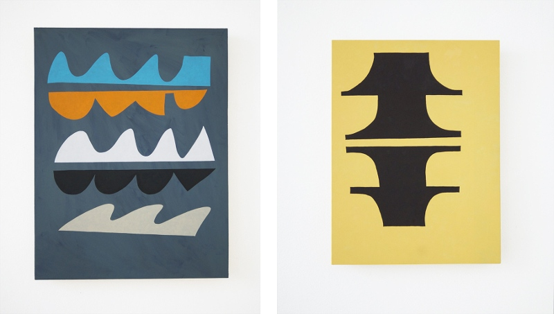 Steuart Pittman - left - Pesky Devil, 2014 - right - Tops and Bottoms, 2014 - Courtesy of Hashimoto Contemporary Gallery