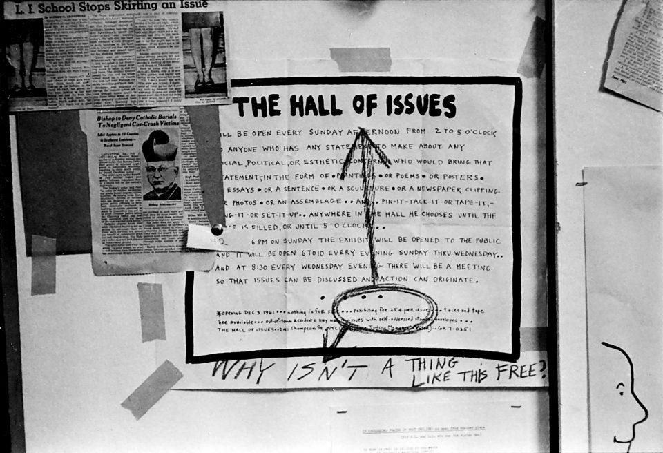 Steven Schapiro - Graffiti on announcement for Hall of Issues, Judson Memorial Church, New York, c. 1961