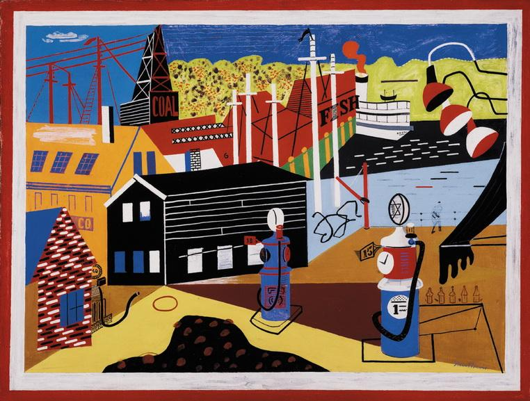 Stuart Davis - Landscape with Garage Lights