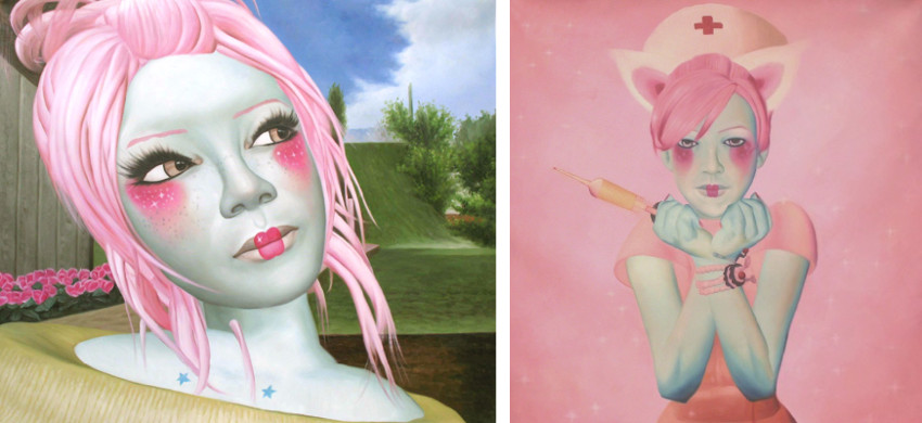 Sumomo Kanashiwa - Looking in the Sky, 2009 (Left) / Nurse, 2008 (Right)