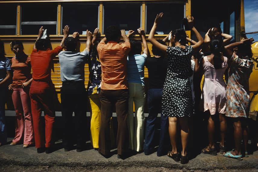 Everyone travelling by car, truck, bus or foot is searched, Ciudad Sandino, Nicaragua, 1978