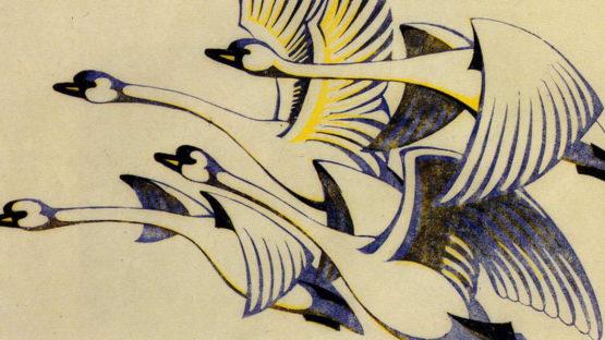 Sybil Andrews - Swans (detail), Linocut, c 1930