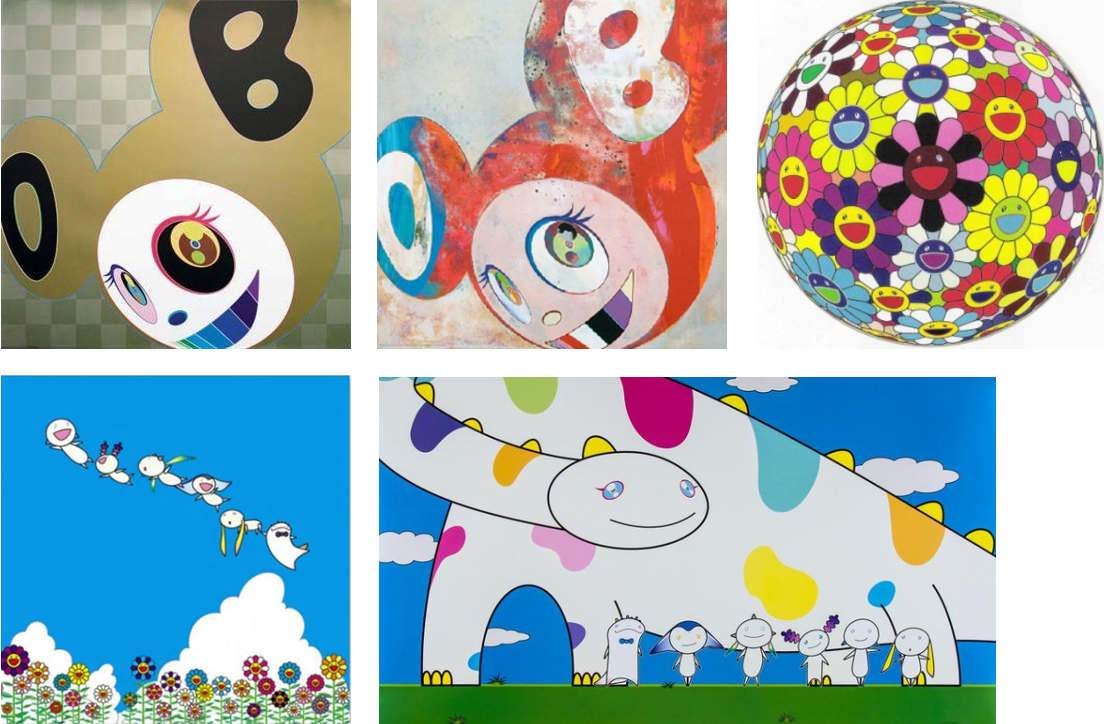 Takashi Murakami-AND THEN Gold, And then Abstraktes Bild, Flower Ball (Kindergarten Days), Planet 66-Summer Vacation, Yoshiko and the Creatures from Planet 66-2007