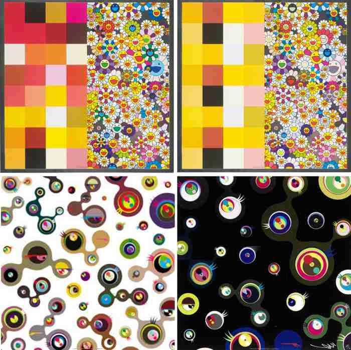 Takashi Murakami-Acupuncture Flowers, Acupuncture Flowers (Checkers), Jellyfish Eyes - White 4, Jellyfish Eyes - Black 3-2008