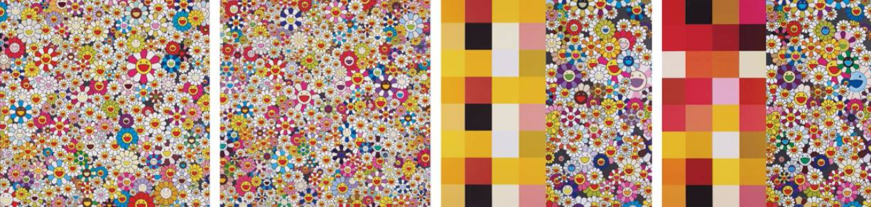 Takashi Murakami-Acupuncture-Flowers (Checkers), Acupuncture Flowers, Open Your Hands Wide Embrace Happiness, Field of Smiling Flowers-2011