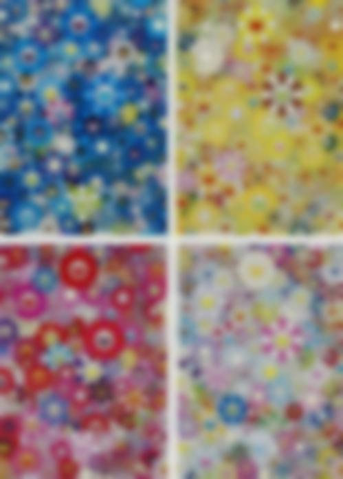 Takashi Murakami-An Homage To IKB 1957 D, An Homage To Monogold 196 C, An Homage To Monopink 196 C, An Homage To Yves Klein Multicolor C-2012