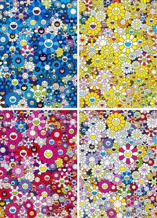 Takashi Murakami-An Homage To IKB 1957 D, An Homage To Monogold 1960 D, An Homage To Monopink 1960 D, An Homage To Yves Klein-2012