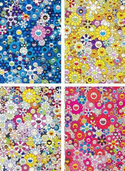 Takashi Murakami-An Homage To Yves Klein Multicolor B, An Homage To Monogold 1960 B, An Homage To IKB 1957 B, An Homage To Monopink 1960 C-2012