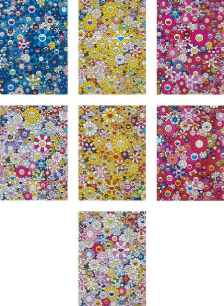 Takashi Murakami-An homage to IKB 1957 D, An homage to Monogold 1960 D, An homage to Monopink 1960 D, An homage to Yves Klein Multicolor D, An homage to Monogold 1960 A, An homage to Monopink 1960 A, An homage to Yves Klein Multicolor A-2012