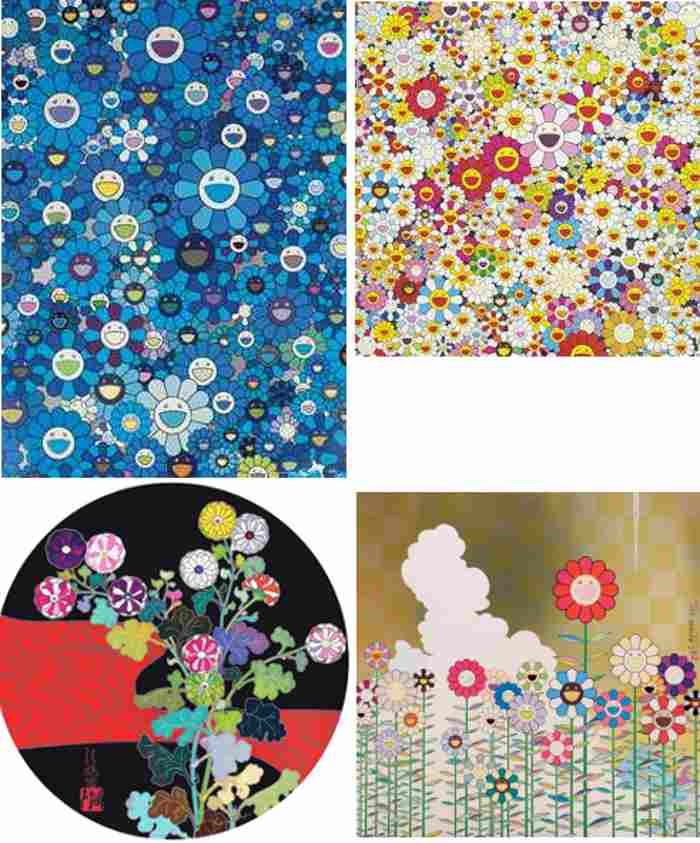 Takashi Murakami-An Homage to IKB, Flowers in Heaven, Kansei Korin Red Stream, Warm and Sunny-2011