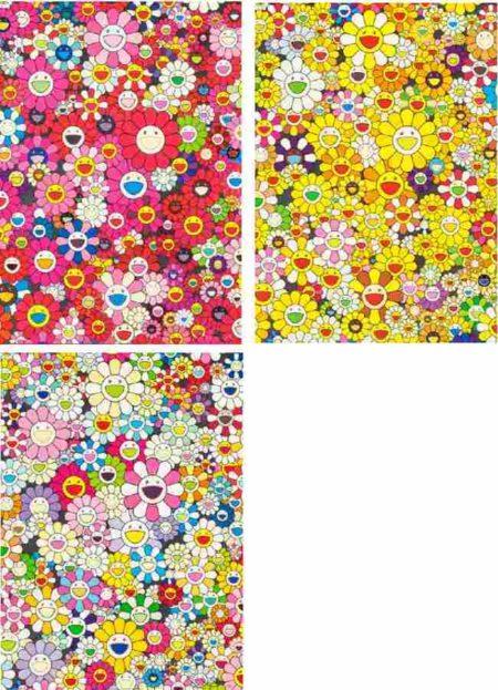 Takashi Murakami-An Homage to Monogold 1960 A, An Homage to Monopink 1960 A, An Homage to Yves Klein Multicolor A-2012