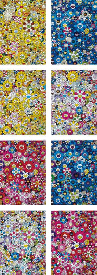 Takashi Murakami-An Homage to Monogold 1960 C; An Homage to IKB 1957 D; An Homage to Monogold 1960 D; An Homage to Yves Klein, Multicolor D; An Homage to Monopink 1960 C; An Homage to IKB 1957 C; An Homage to Yves Klein, Multicolor C; and An Homage to Monopink 1960 D-2012