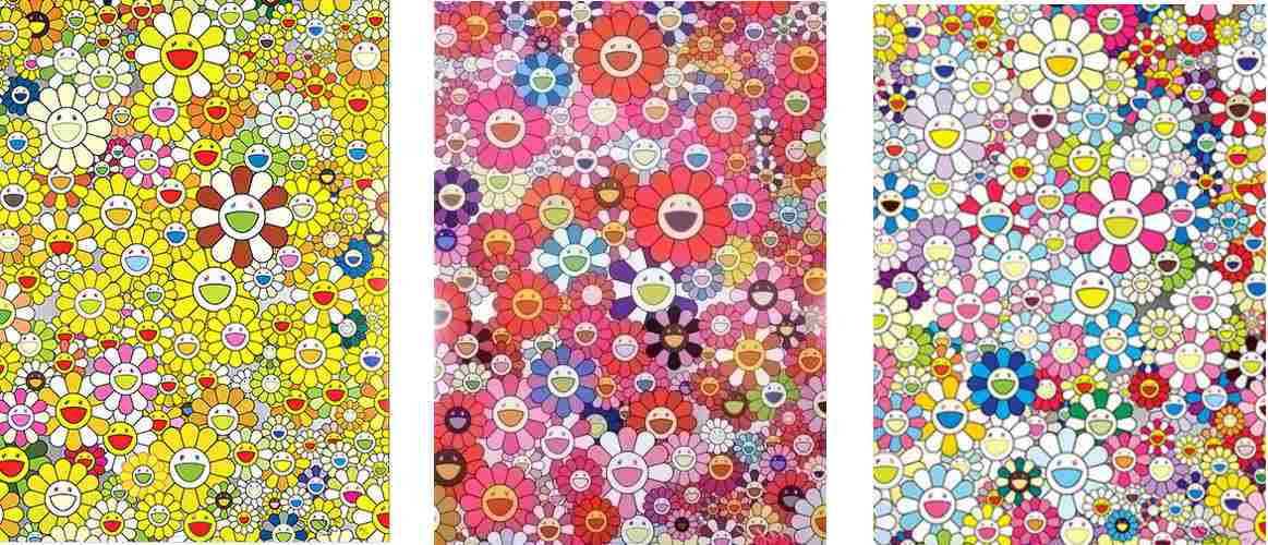 Takashi Murakami-An Homage to Monogold, 1960 C; An Homage to Monopink, 1960 C; An Homage to Yves Klein, Multicolor C-2012