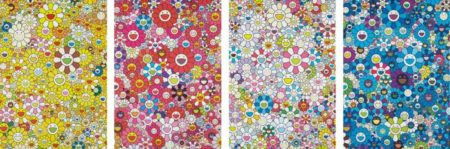 Takashi Murakami-An Homage to Monopink 1960 C; An Homage to IKB 1957 C; An Homage to Yves Klein, Multicolor C; and An Homage to Mangold 1960 C-2012