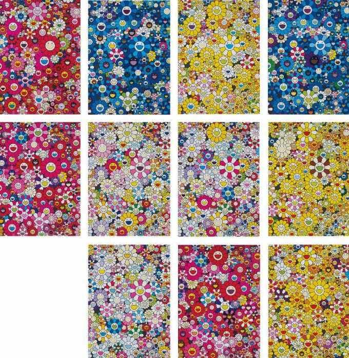 Takashi Murakami-An Homage to Monopink 1960 D, An Homage to IKB 1957 C, An Homage to Marigold 1960 C, An Homage to Yves Klein, Multicolor C, An Homage to Monopink 1960 C, An Homage to Yves Klein, Multicolor D, An Homage to Monopink 1960 A, An Homage to Marigold 1960 D, An Homage to Yves Klein, Multicolor A, An Homage to IKB 1957 D, and An Homage to Marigold 1960 A-2012