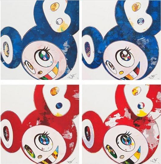 Takashi Murakami-And Then x727 (Ultramarine - Gunjo), And Then x6 (Lapis Lazuli - The Superflat Method), And Then x6 (Red - The Superflat Method), And Then x6 (Red - The Polke Method)-2013