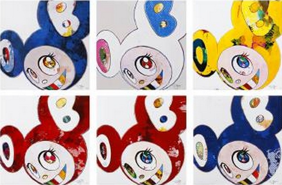Takashi Murakami-And Then x6 (Blue, White, Yellow, Vermillion, Red, Marine Blue)-2013