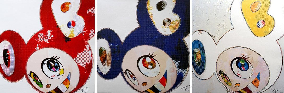 Takashi Murakami-And Then 3000 Red, And Then 3000 Blue, And Then x 6 (White - The Superflat Method, Blue and Yellow Ears)-2013