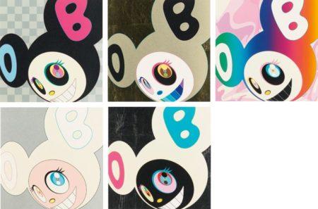Takashi Murakami-And Then (Black, Gold, Rainbow, White, And Then White-Black)-2005