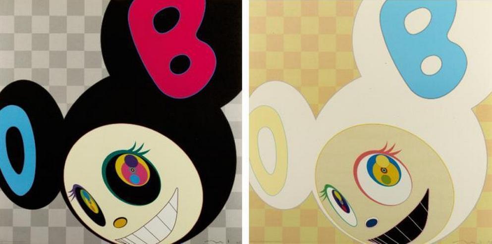 Takashi Murakami-And Then (Black, Ichimatsu Pattern)-2006