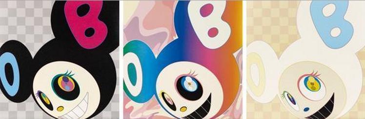 Takashi Murakami-And Then (Black, Rainbow, Ichimatsu Pattern)-2005