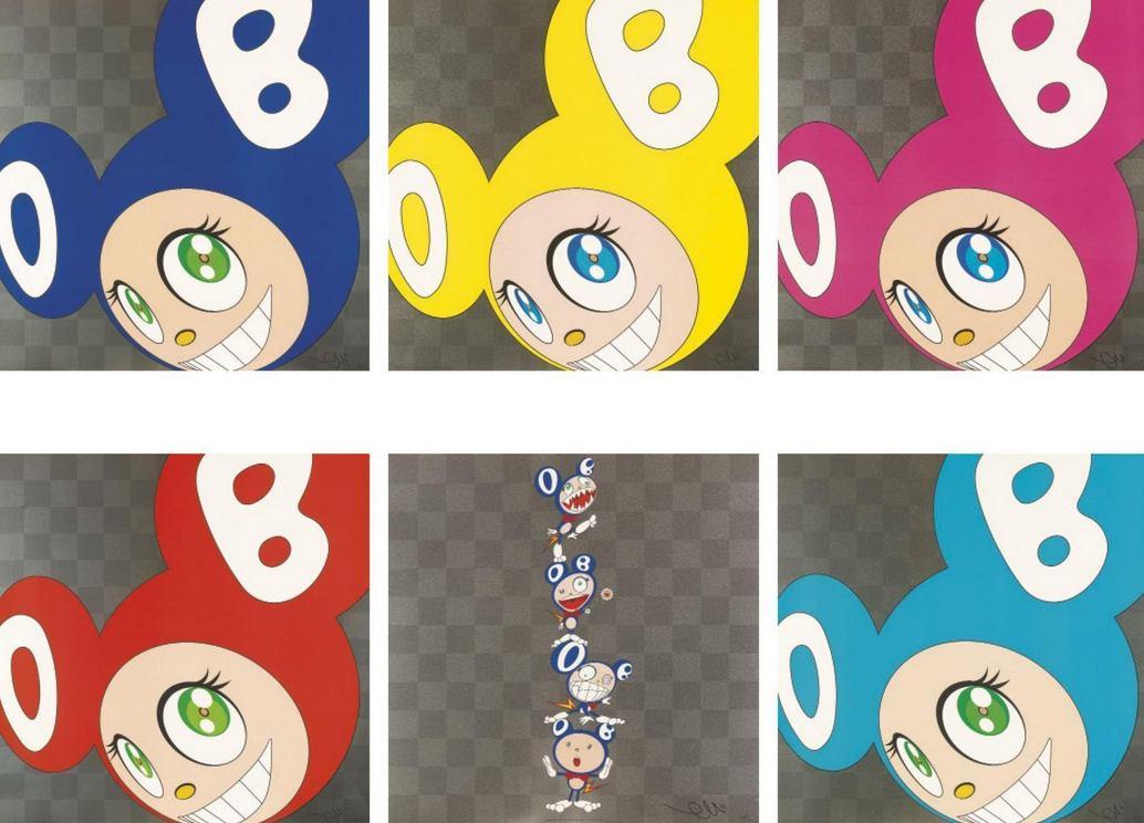 Takashi Murakami-And Then (Blue, Red, Yellow, Pink, Aqua Blue), Dob Totem Pole-2000