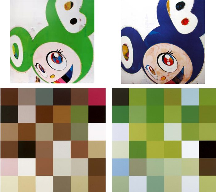 Takashi Murakami-And Then (Green Truth, Original Blue), Acupuncture Painting (Smell of Blood, Terre Verte )-2006