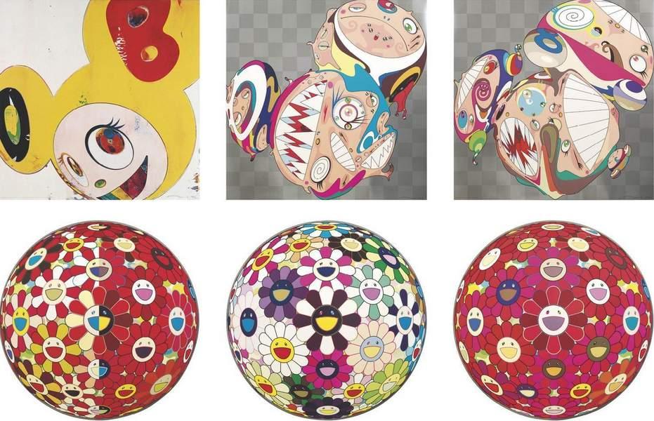 Takashi Murakami-And Then (Lemon Pepper), Melting DOB D, Melting DOB E, Flowerball Red (3D) The Magic Flute, Flowerball Brown, Flower Ball (3-D) Red Cliff-