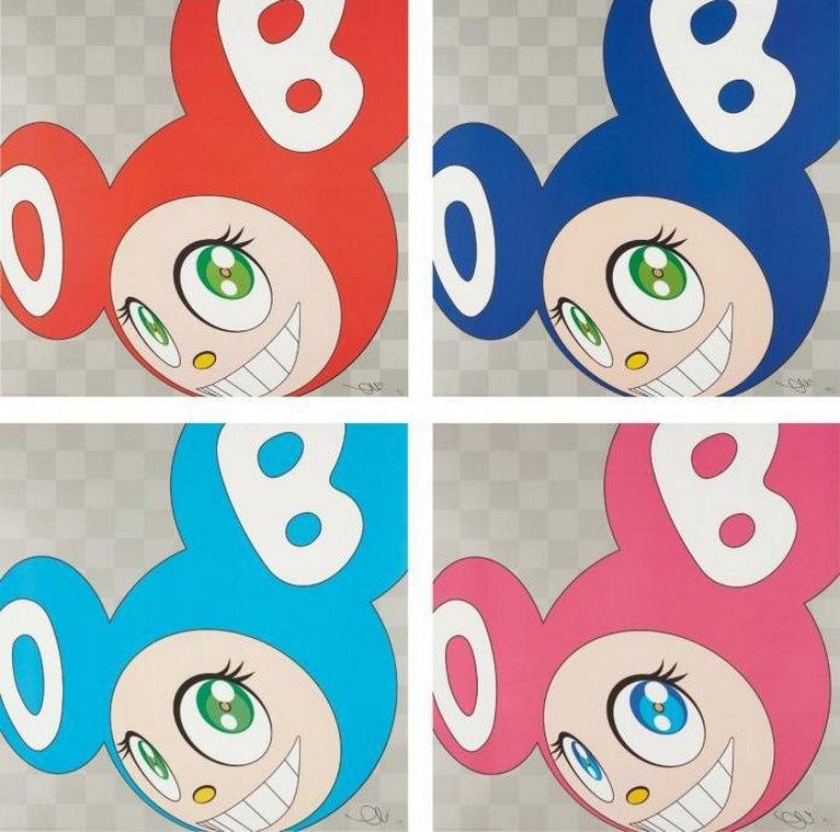 Takashi Murakami-And Then (Red, Blue, Aqua Blue, Pink)-1999