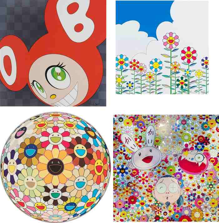 Takashi Murakami-And Then (Red), Flower 2, Flower Ball (3-D) Sunflower, Kaikai Kiki And Me - For Better Or Worse In Good Times And Bad The Weather Is Fine-2010