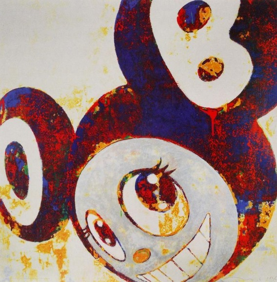 Takashi Murakami-And Then (Red and Blue DOB)-1996