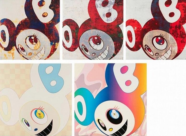 Takashi Murakami-And Then (Red and Blue DOB, Red and Green DOB, Red DOB, Ichimatsu pattern, Rainbow)-2006