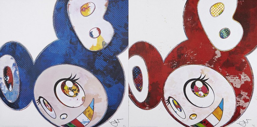 Takashi Murakami-And Then X6 (Blue-Superflat Method), And Then X6 (Vermilion-The Superflat Method)-2013