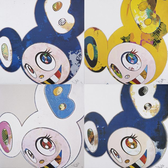 Takashi Murakami-And Then X6 (White-The Superflat Method, Pink And Blue Ears), And Then X6 (Marine Blue: The Superflat Method) And Then X6 (Blue), And Then Yellow Universe-2013